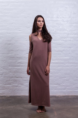 Dress with tip brown
