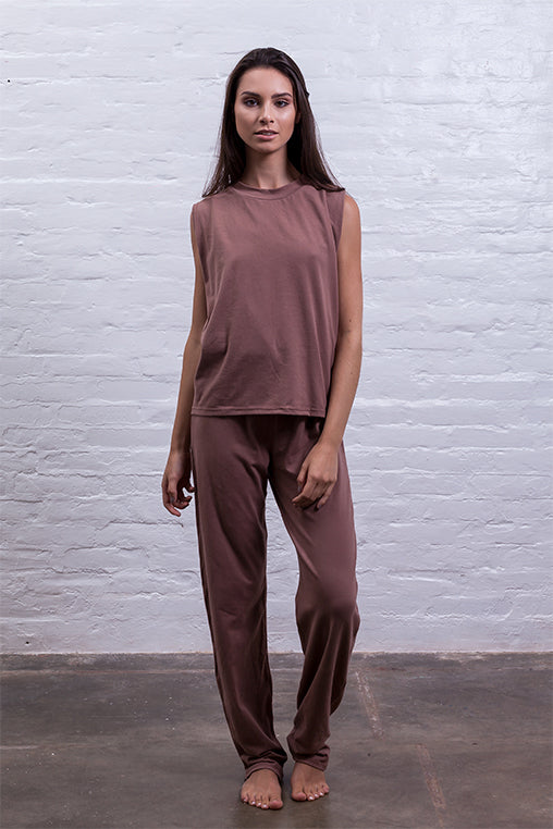 jumpsuit cutout mudha fauna brown cotton comfy