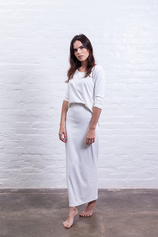 ribbed long skirt off white mudha biodegradable sustainable