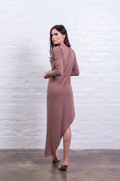 dress with tip brown mudha cotton sustainable back
