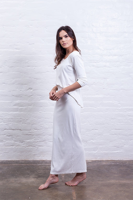 ribbed long skirt off white mudha biodegradable sustainable side