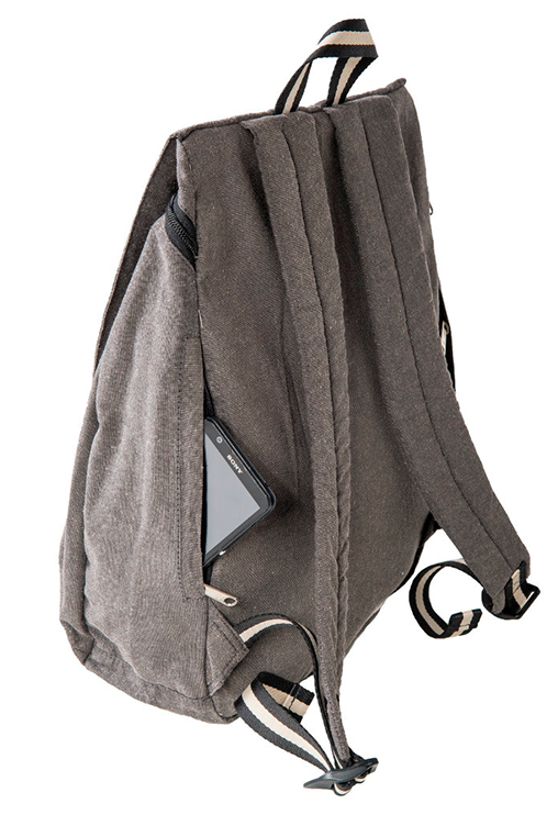 simca grey backpack bossapack recycled fabric sustainable side