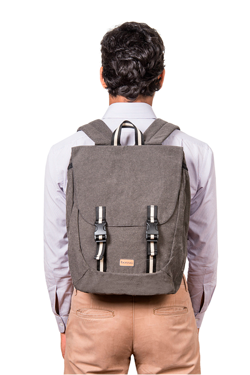 simca grey backpack bossapack recycled fabric sustainable front