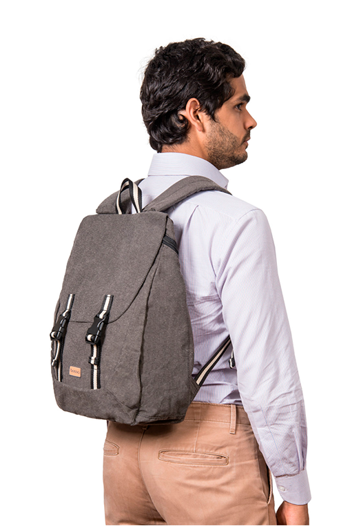 simca grey backpack bossapack recycled fabric sustainable model
