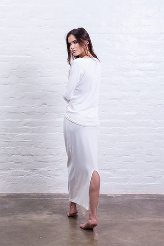 ribbed long skirt off white mudha biodegradable sustainable back