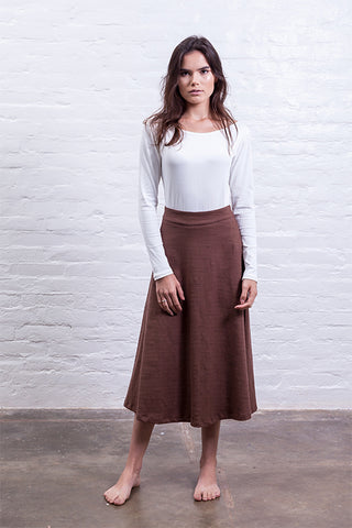 brown high waisted skirt