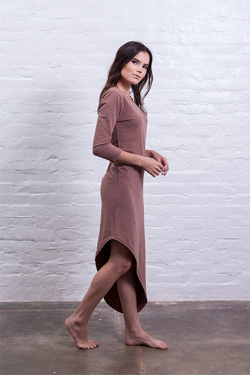 dress with tip brown mudha cotton sustainable side