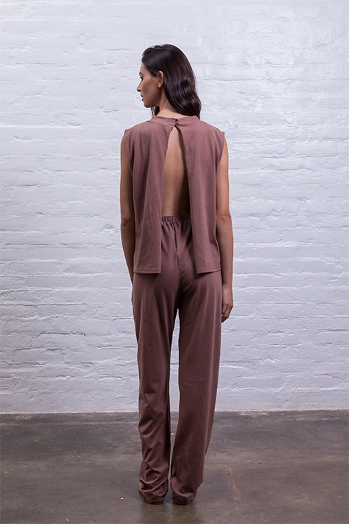 jumpsuit cutout mudha fauna brown cotton comfy back