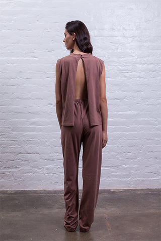 Back cutout jumpsuit brown