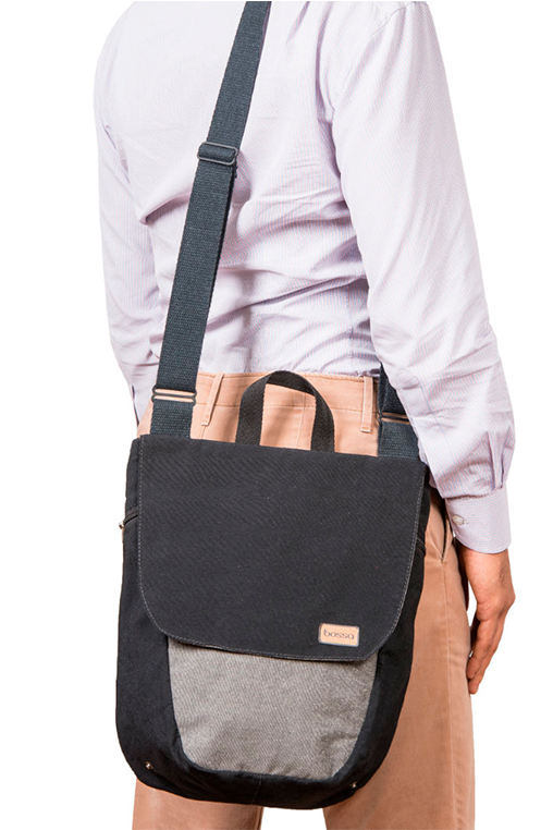 du tote bi color backpack bossapack grey black on shoulder