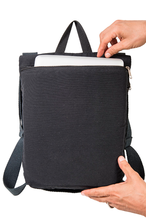 du tote bi color backpack bossapack grey black compartment