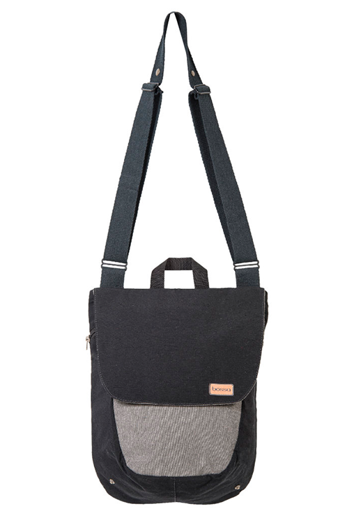du tote bi color backpack bossapack grey black strap