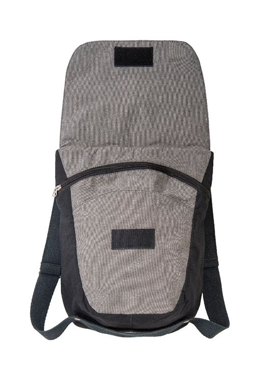 du tote bi color backpack bossapack grey black open