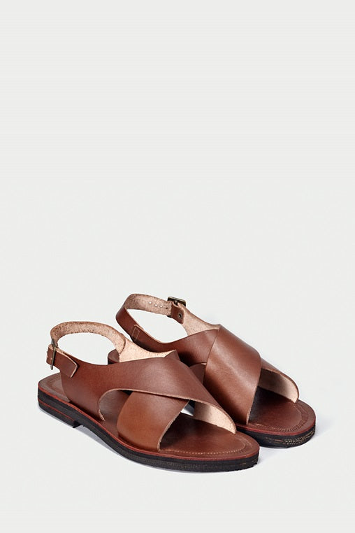 sandals fauna caboclo leather sustainable brown cross