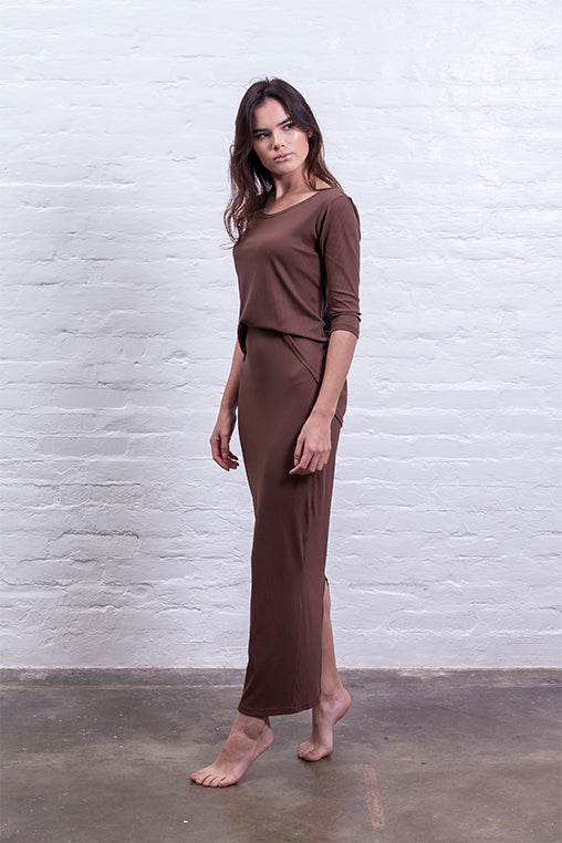 ribbed long skirt brown mudha biodegradable sustainable