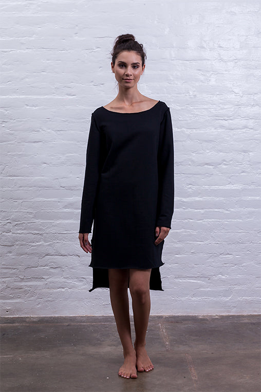 step dress mudha black cotton sustainable