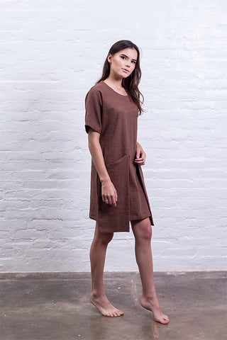 Open shoulder dress brown