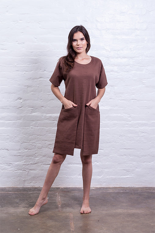 dress big pocket mudha fauna sustainable brown front