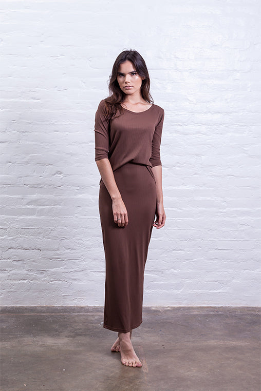 ribbed long skirt brown mudha biodegradable sustainable front