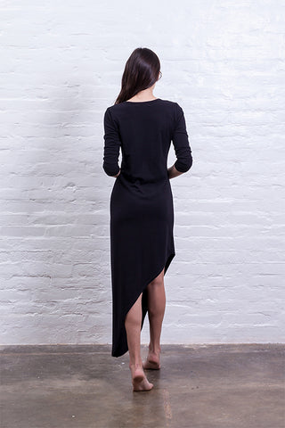 dress with tip black mudha cotton sustainable back
