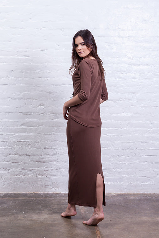 ribbed long skirt brown mudha biodegradable sustainable back
