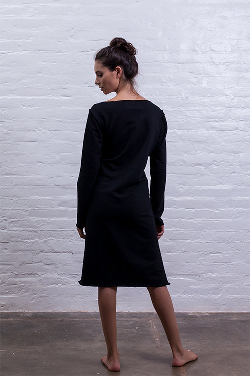 step dress mudha black cotton sustainable back