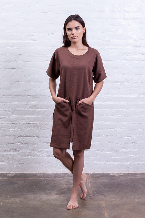 dress big pocket mudha fauna sustainable brown front detail