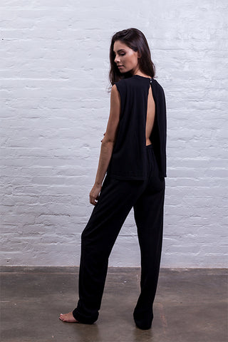jumpsuit cutout mudha fauna black cotton comfy back