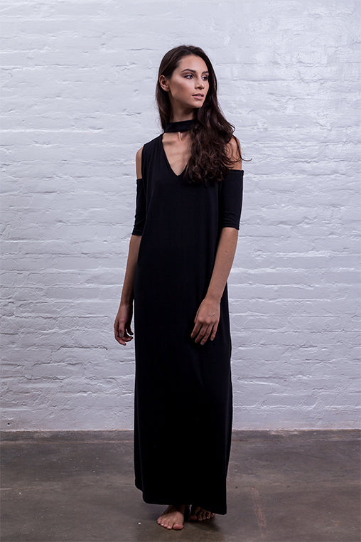 open shoulder dress black cotton sustainable mudha side