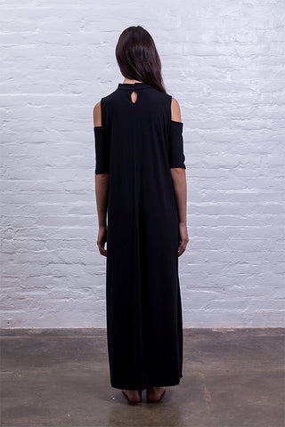 open shoulder dress black cotton sustainable mudha back