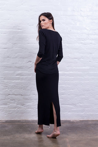Ribbed long skirt black