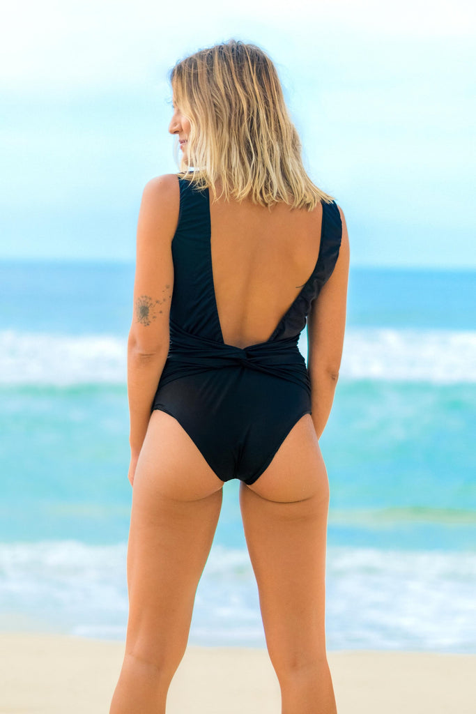 bodysuit black back cutout lille beachwear fauna sustainable biodegradable back detail