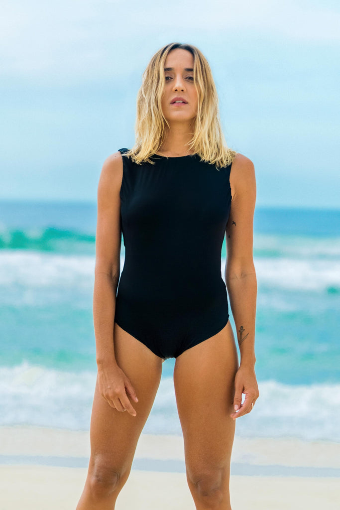 bodysuit black back cutout lille beachwear fauna sustainable biodegradable