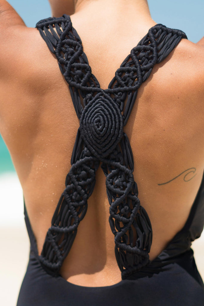 cayman bathing suit black v neck back detail