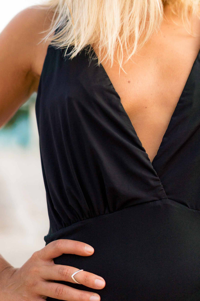 cayman bathing suit black v neck detail