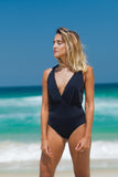 cayman bathing suit black v neck