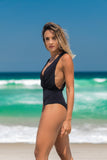 cayman bathing suit black v neck side