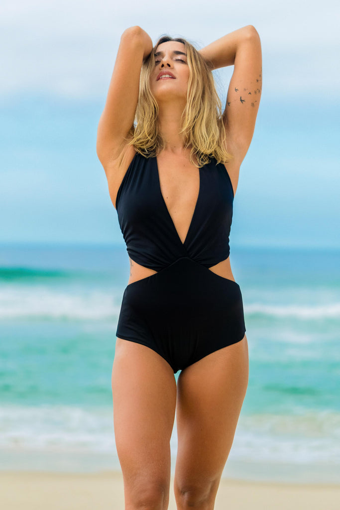 bodysuit black v neck cutout lille beachwear fauna sustainable biodegradable front