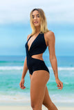 bodysuit black v neck cutout lille beachwear fauna sustainable biodegradable