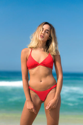 búzios bikini red lille beachwear biodegradable sustainable detail