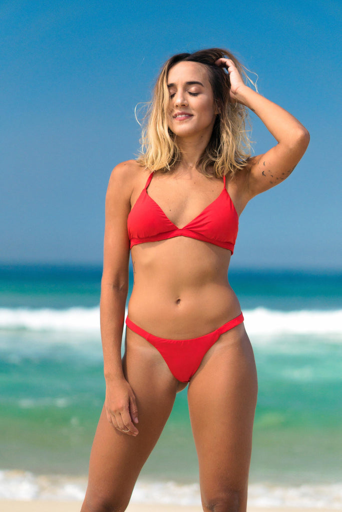 búzios bikini red lille beachwear biodegradable sustainable