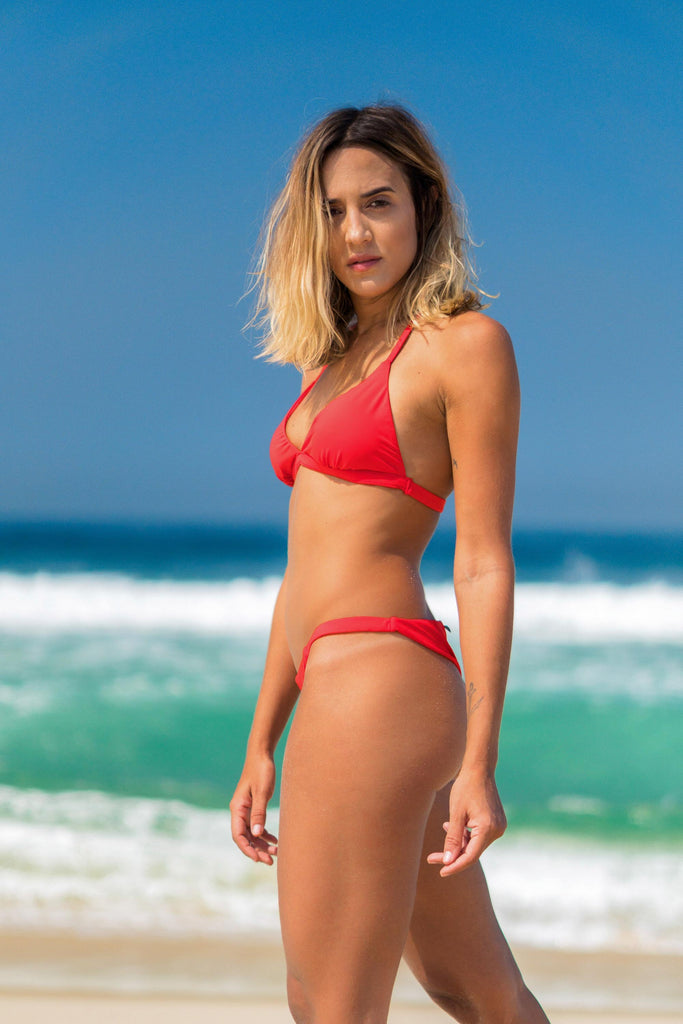 búzios bikini red lille beachwear biodegradable sustainable side