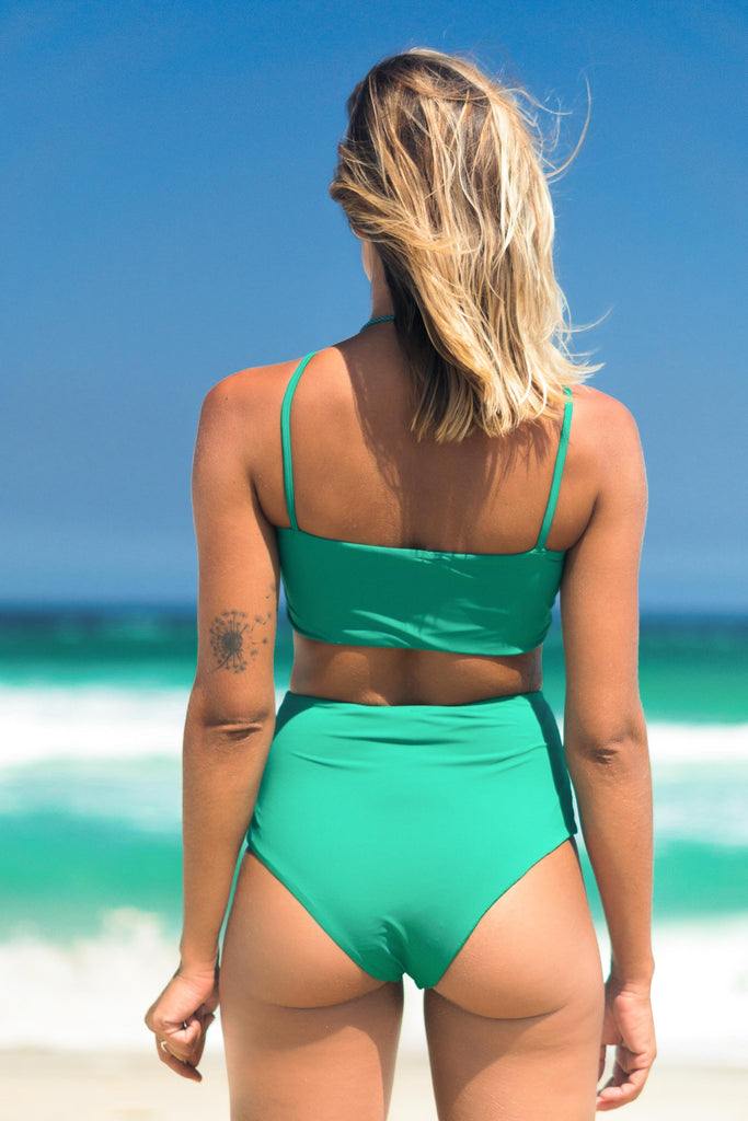 Malibu bikini green lille beachwear biodegradable sustainable back