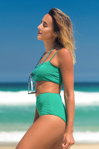 Malibu bikini green lille beachwear biodegradable sustainable side