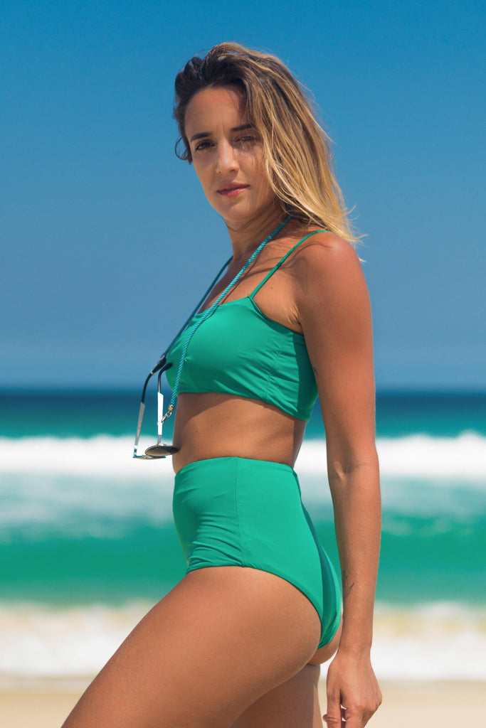 Malibu bikini green lille beachwear biodegradable sustainable