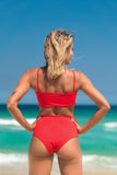 malibu bikini red lille beachwear biodegradable sustainable back