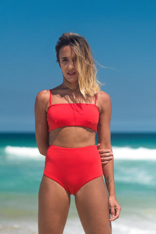 malibu bikini red lille beachwear biodegradable sustainable front