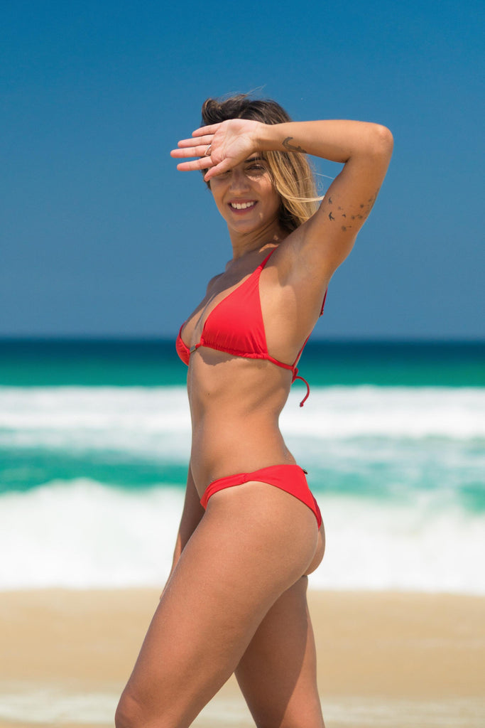 Paraty bikini red lille beachwear sustainable biodegradable side