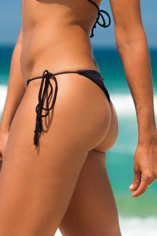 suipe bikini black lille beachwear sustainable biodegradable gold details bottom