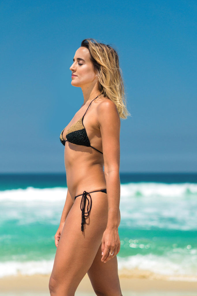 suipe bikini black lille beachwear sustainable biodegradable gold details side
